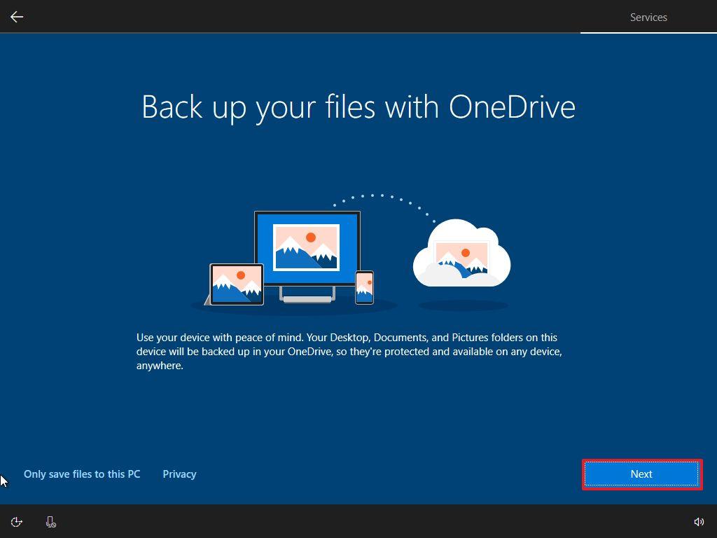 OneDrive setup, Windows 10 OOBE