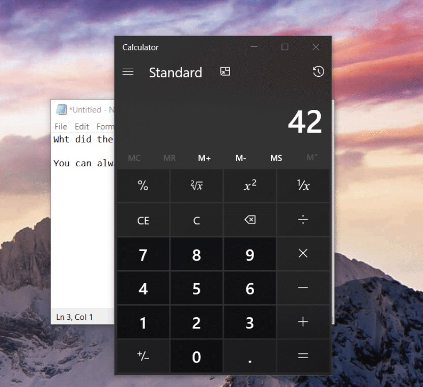 Calculator app with Always on Top mode