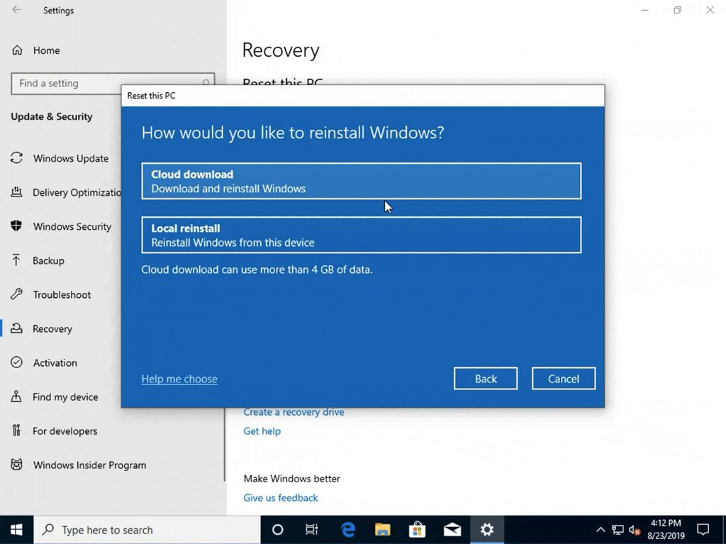 Reset this PC with Cloud Download option (image source: Microsoft)