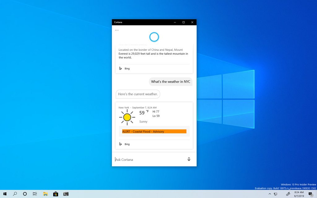 Cortana drag and resize window