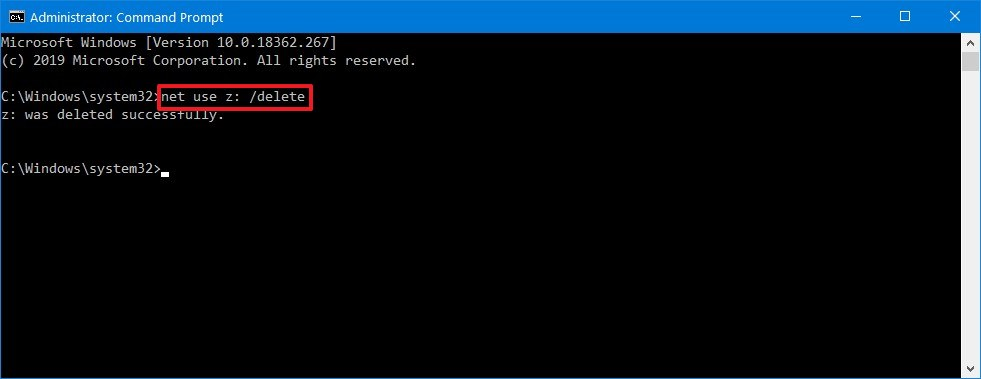 Delete mapped network drive using Command Prompt