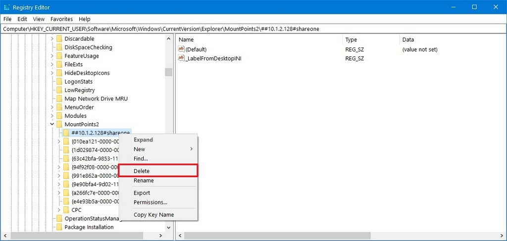 Remove mapped network drive using Registry