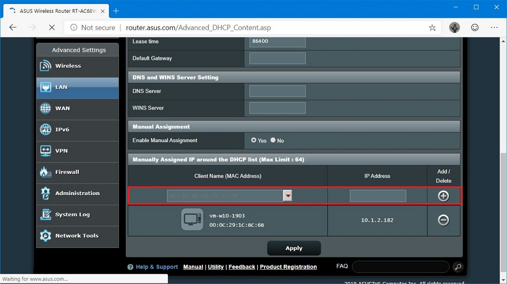 DHCP assign static IP address automatically