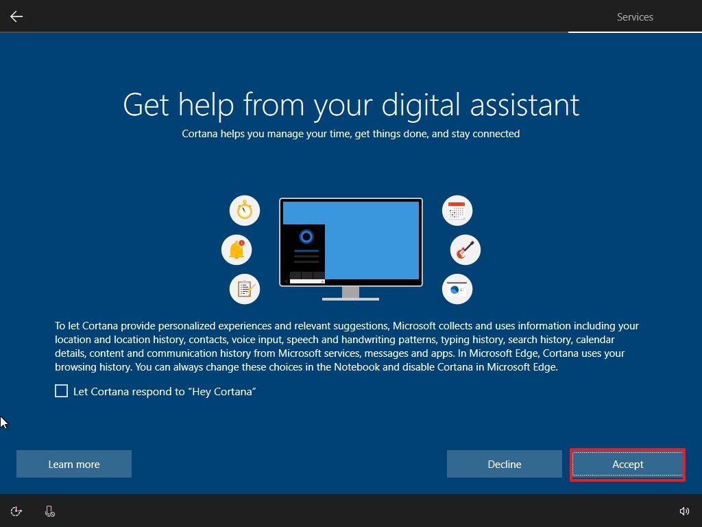 Enable Cortana, WIndows 10 OOBE