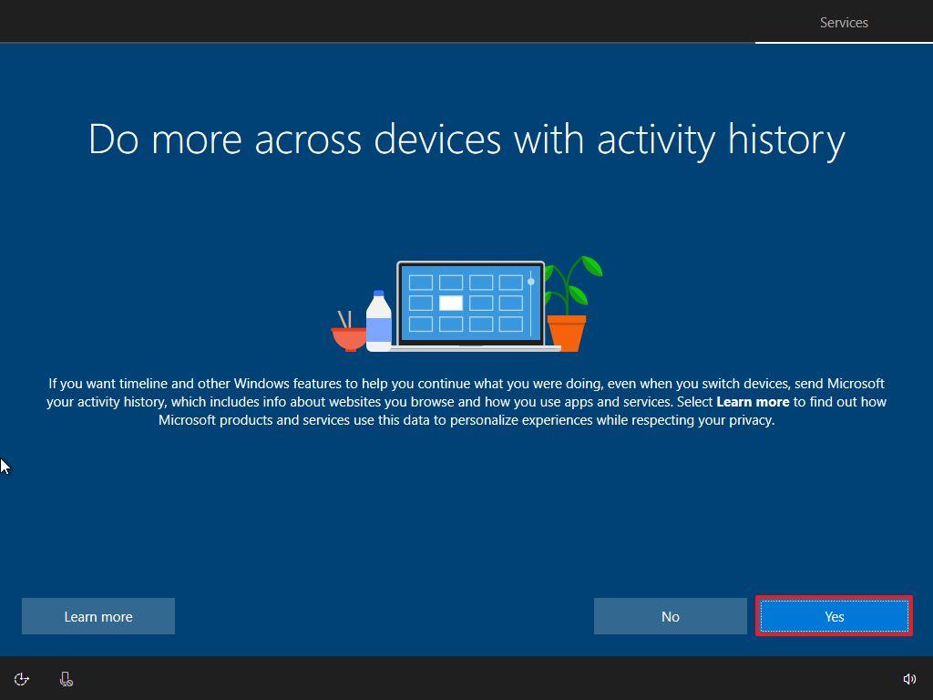 Windows 10 OOBE, enable Timeline