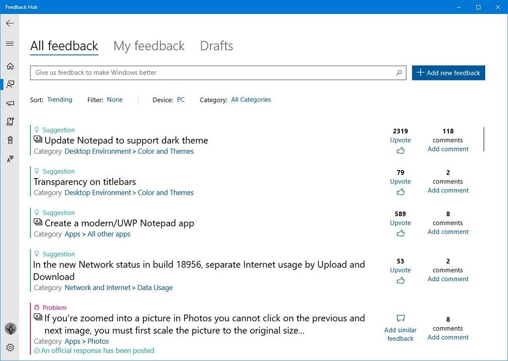 Feedback Hub app new UI for Windows 10 20H1
