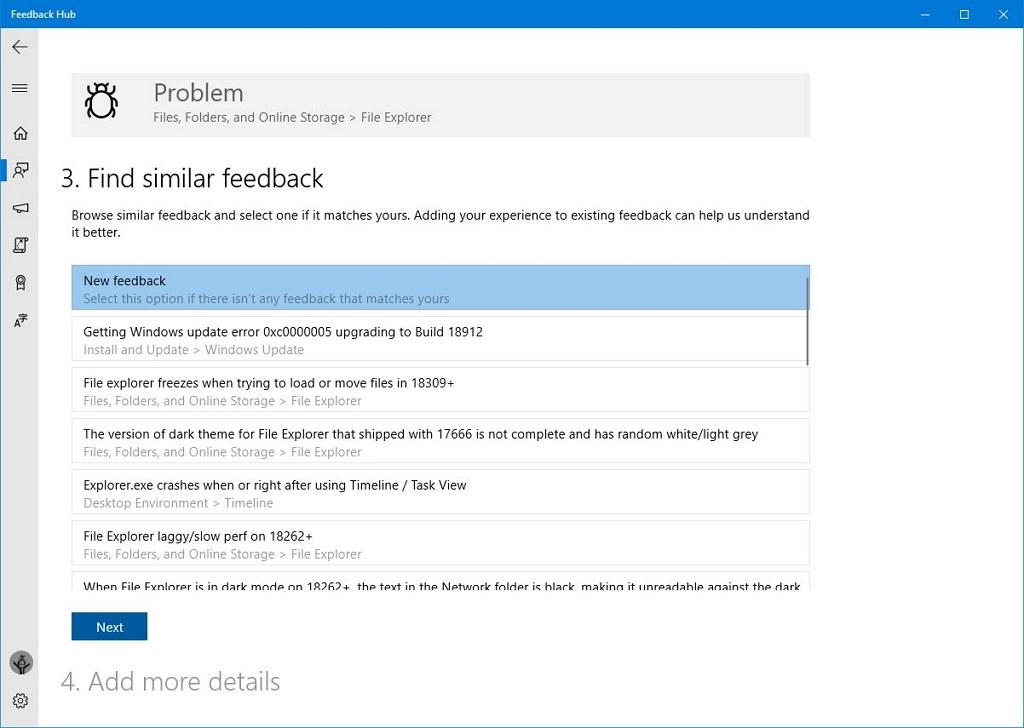Feedback Hub similar feedback feature