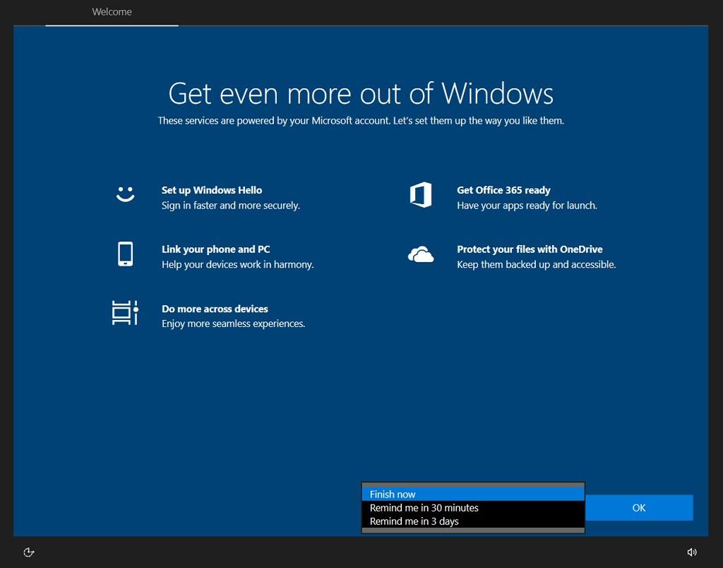 Windows 10 setup wizard