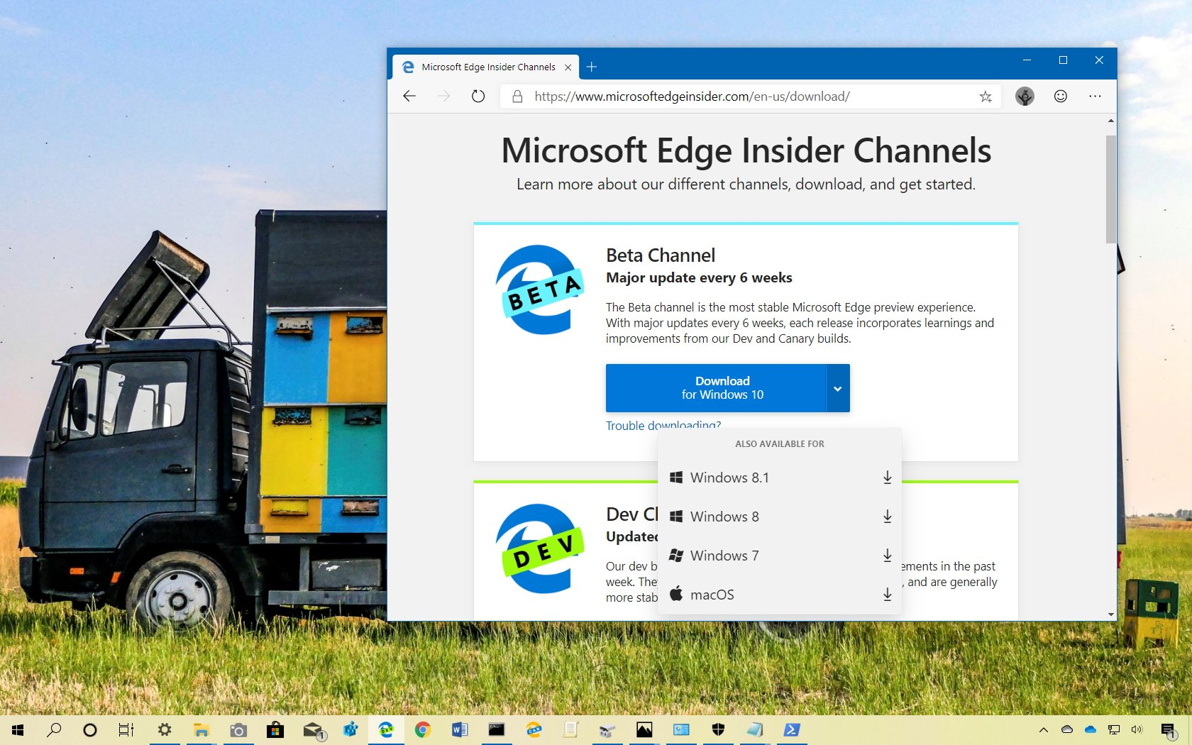 Microsoft Edge (Chromium) beta is available for download on