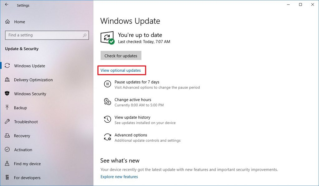 Windows Update settings with Optional updates link