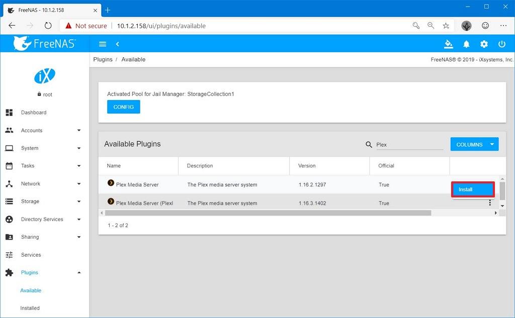 Plex Media Server plugin on FreeNAS