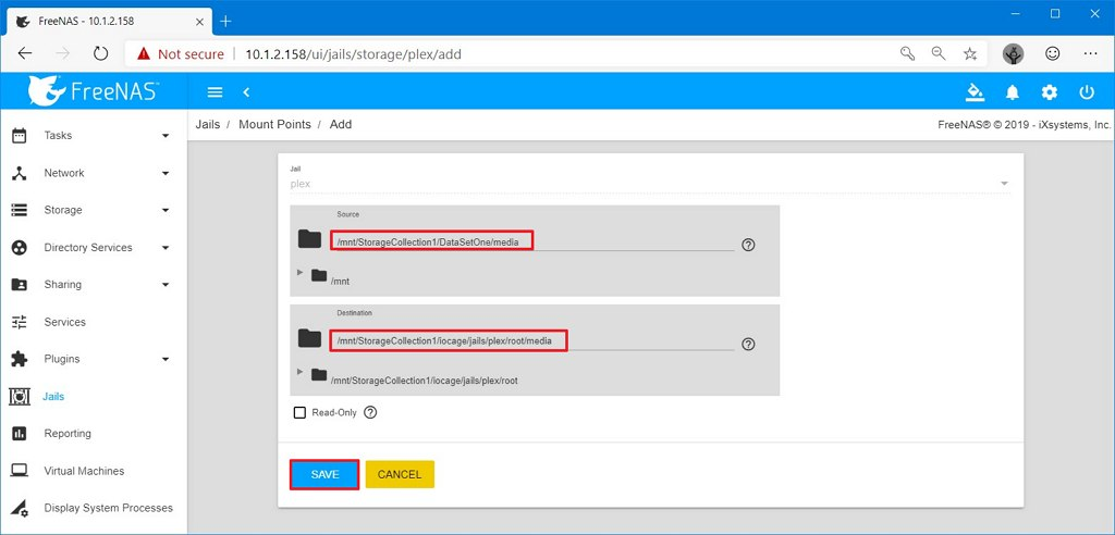 Plex configure source and destination mount point