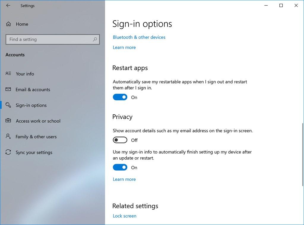 Restart apps settings on Windows 10 20H1 (image source Microsoft)
