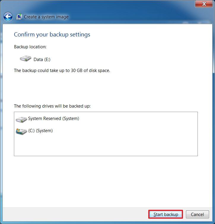 Start full backup of Windows 7