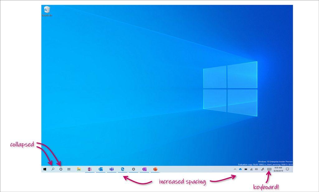 Tablet mode on Windows 10 20H1 (image source: Microsoft)
