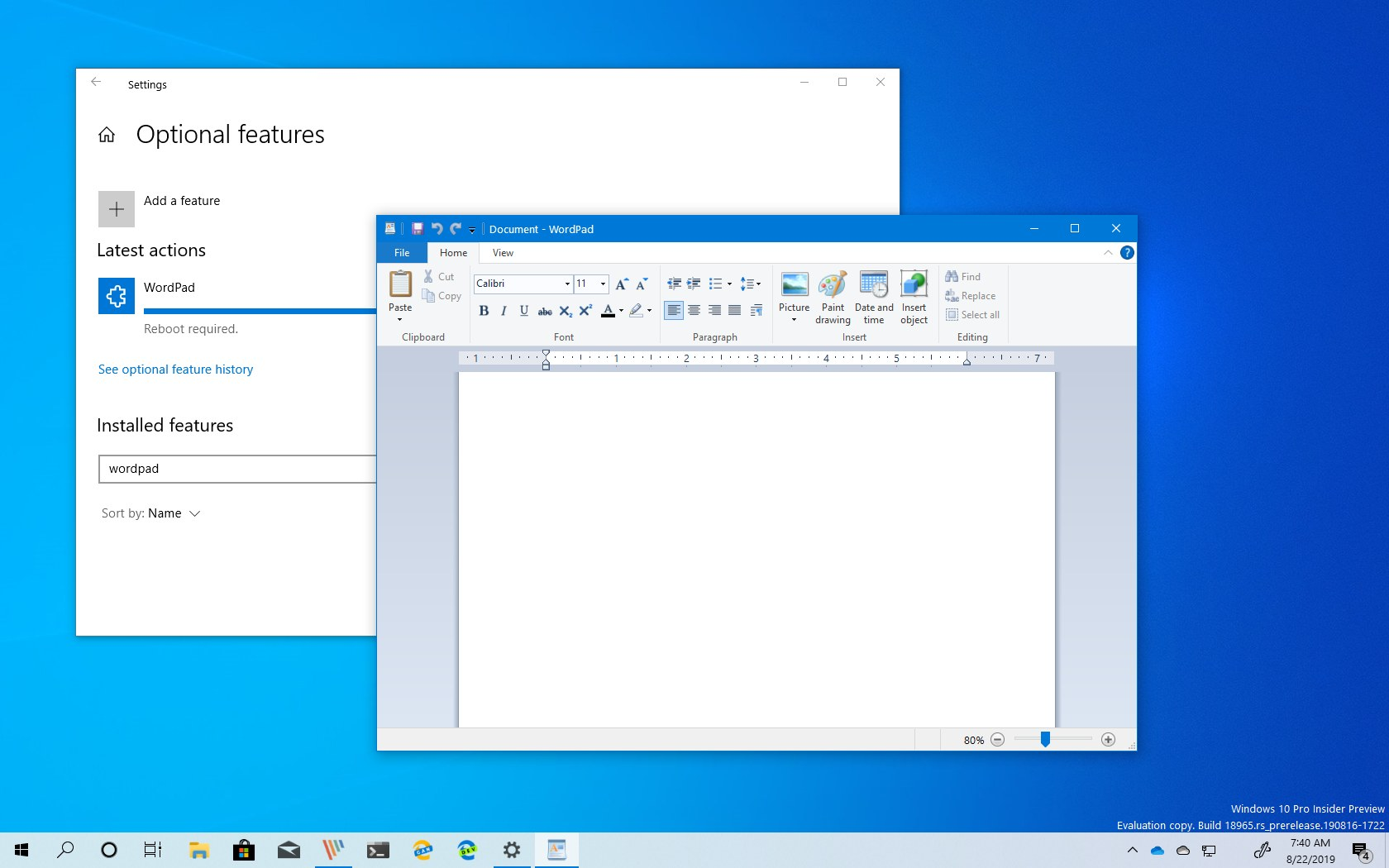 Uninstall WordPad from Windows 10