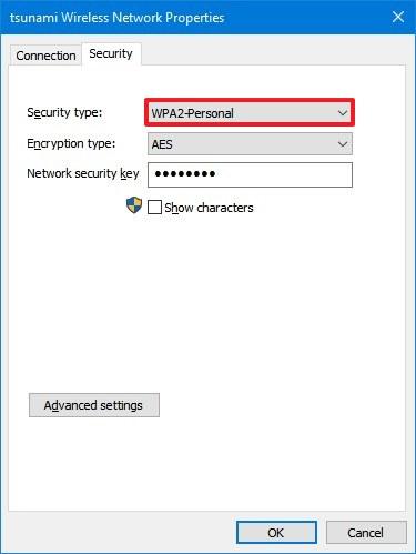 Wi-Fi security type in Control Panel