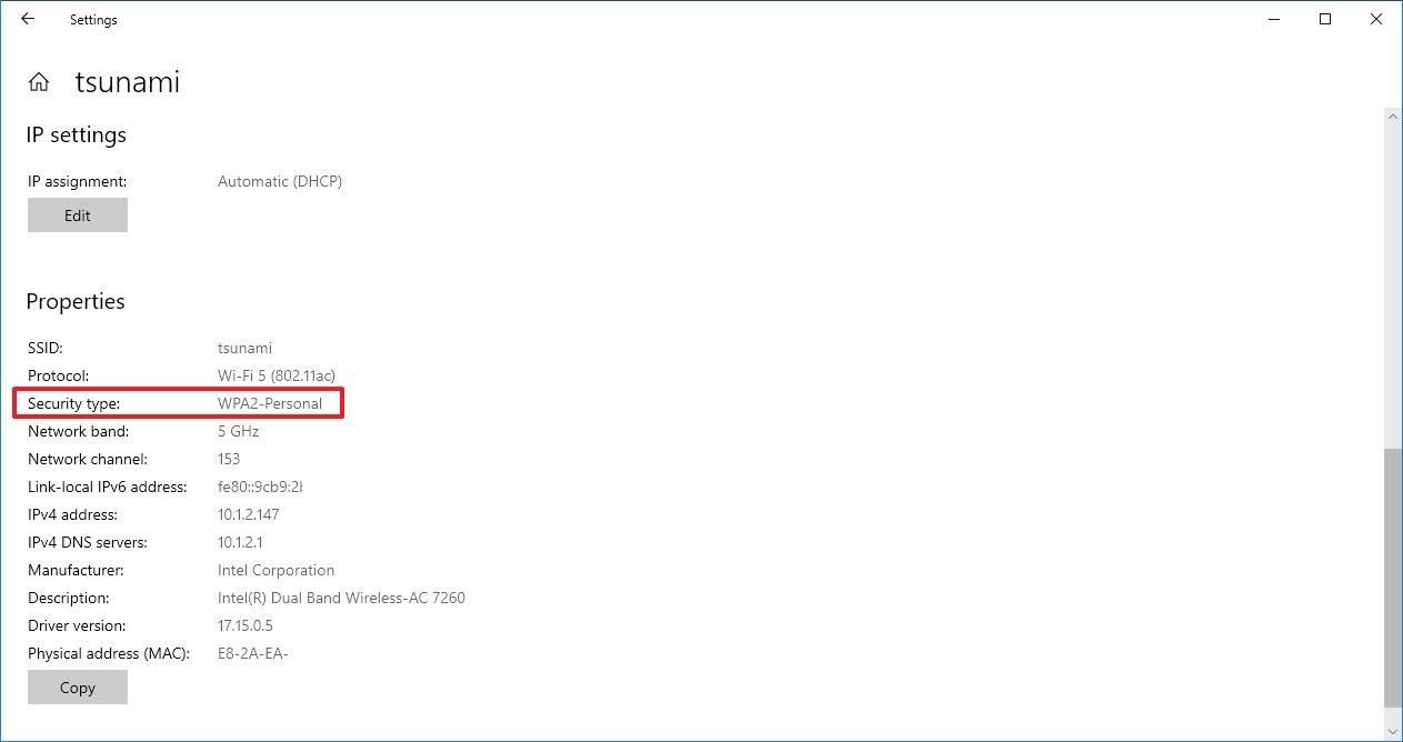 Wi-Fi security type settings