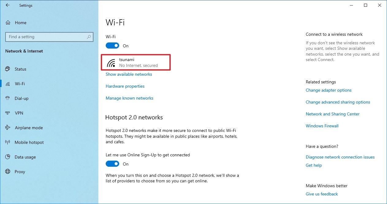 Wi-Fi settings on Windows 10