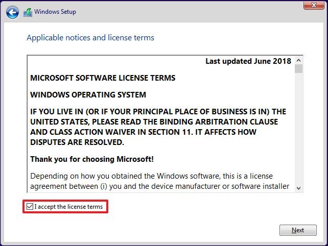Windows 10 license terms agreement
