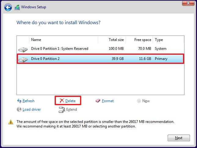 Windows 10 clean install partitioning option