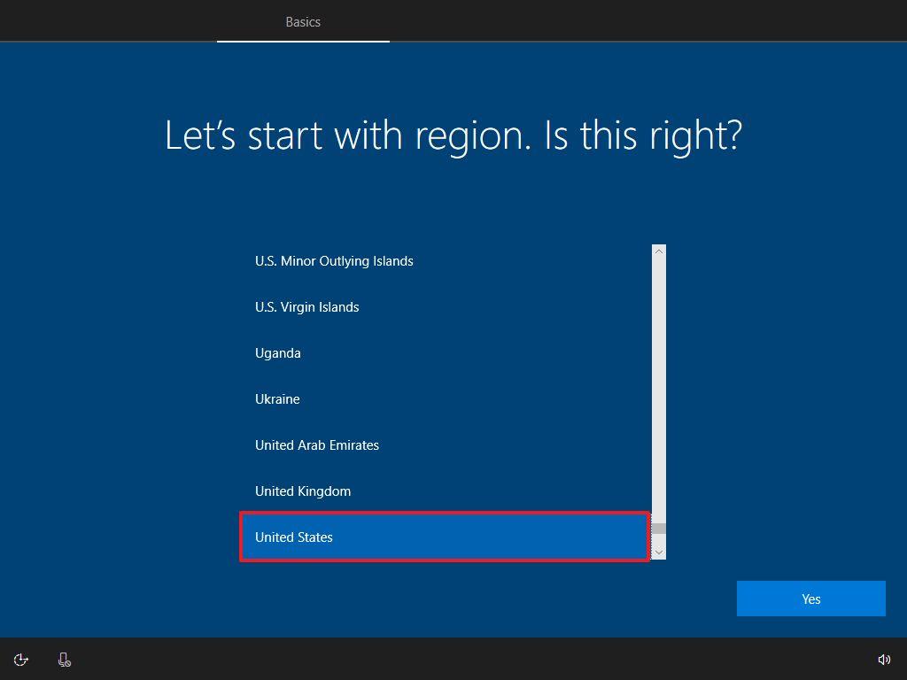 Windows 10 OOBE, select Region