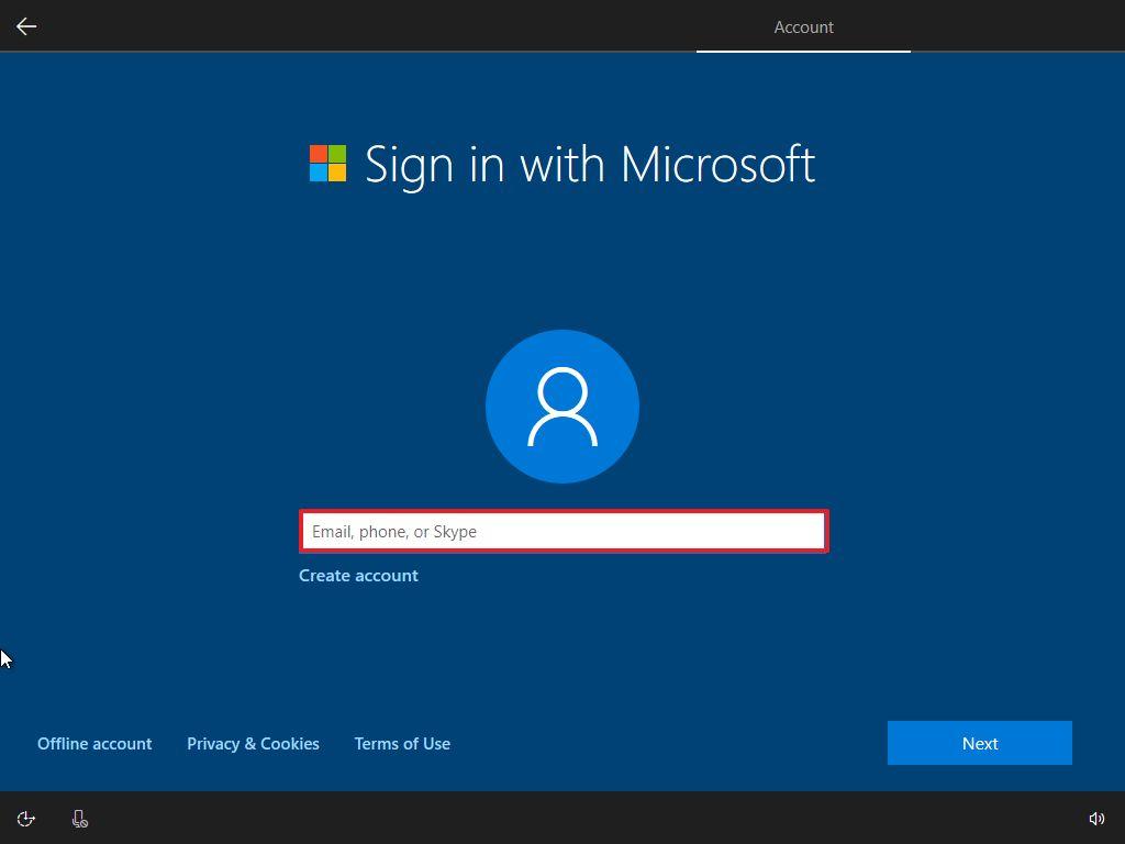 Windows 10 OOBE, Microsoft Account setup