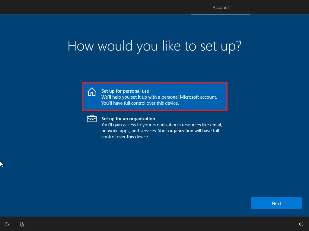 Windows 10 OOBE, personal use setup