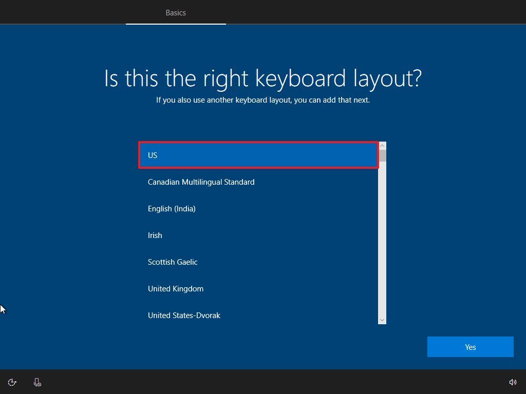 Windows 10 OOBE, select keyboard layout