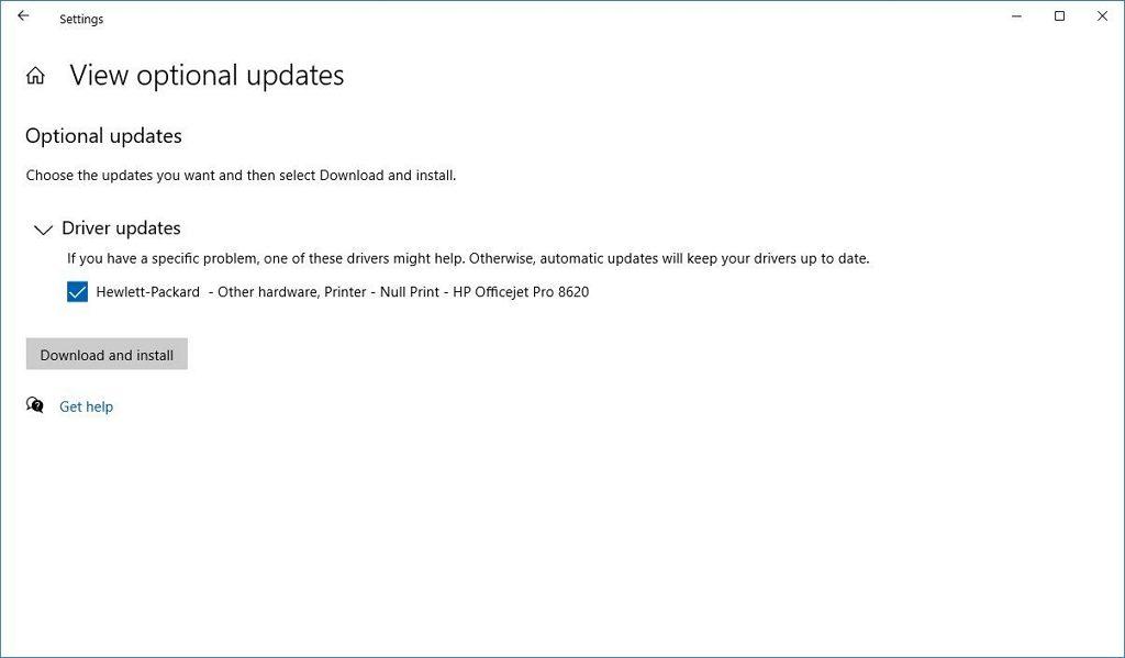 Windows 10 Optional updates settings
