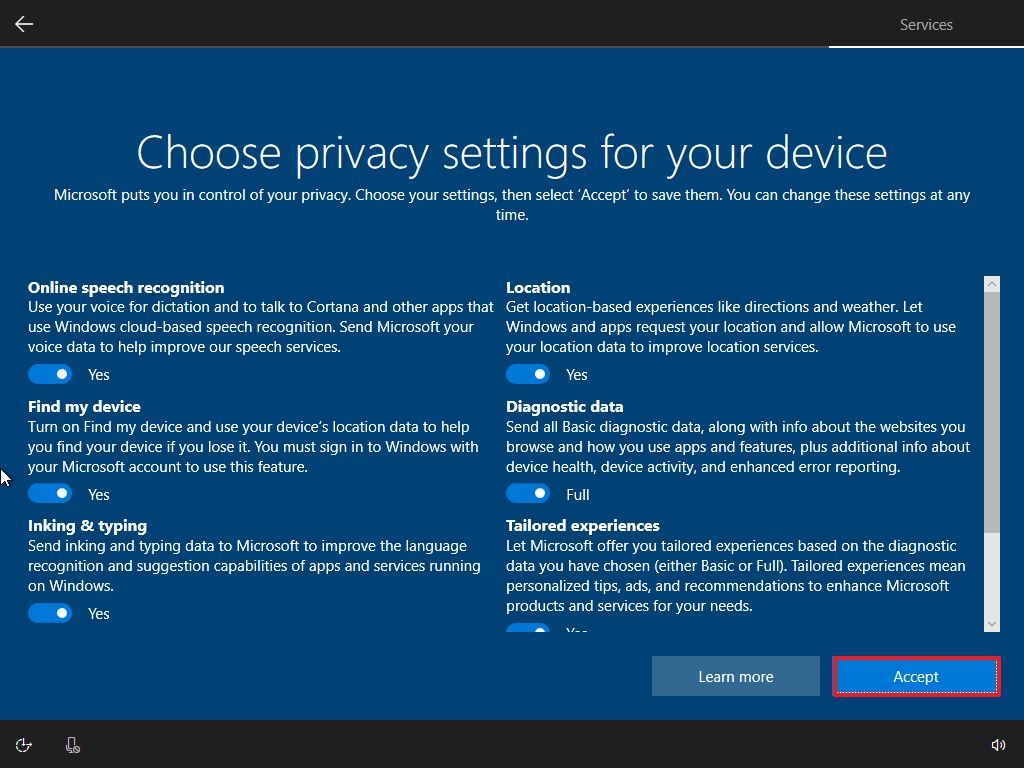 Privacy settings, Windows 10 OOBE