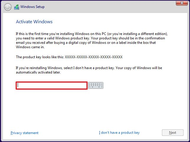 Enter product key for Windows 10