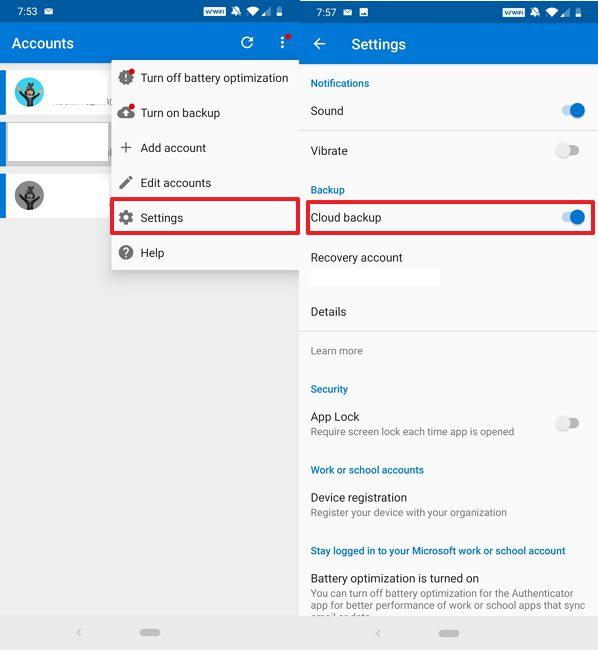 Microsoft Authenticator disable backup