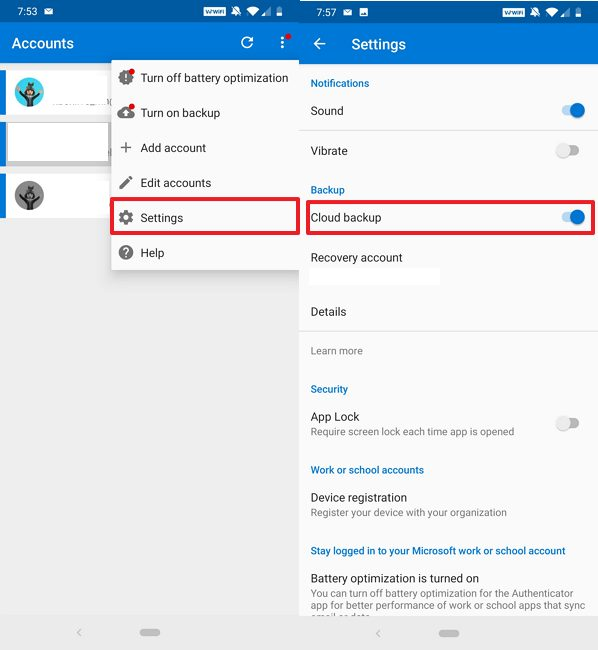 Microsoft Authenticator disable backup
