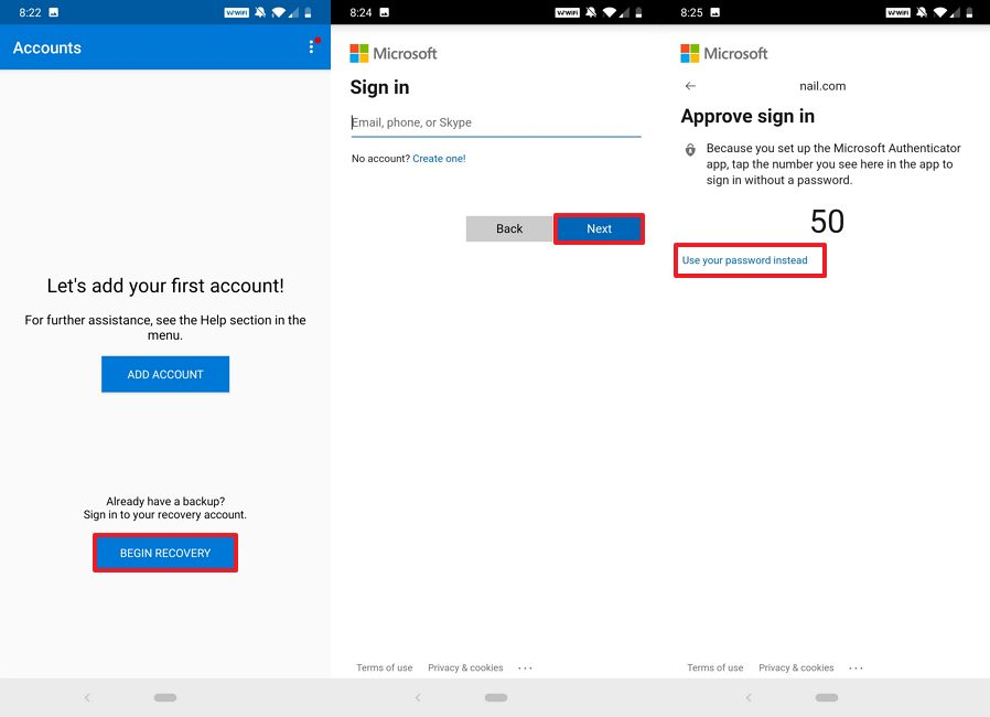 Microsoft Authenticator recovery