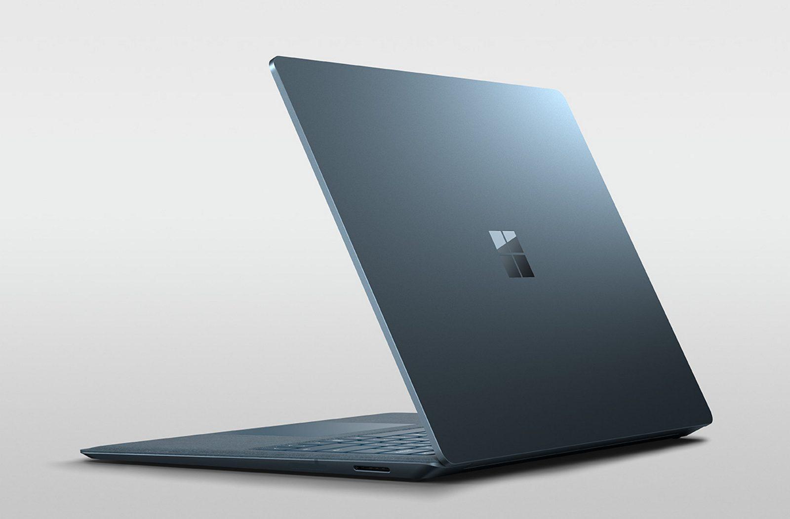 Surface Laptop 2, blue, back logo (image source Microsoft)