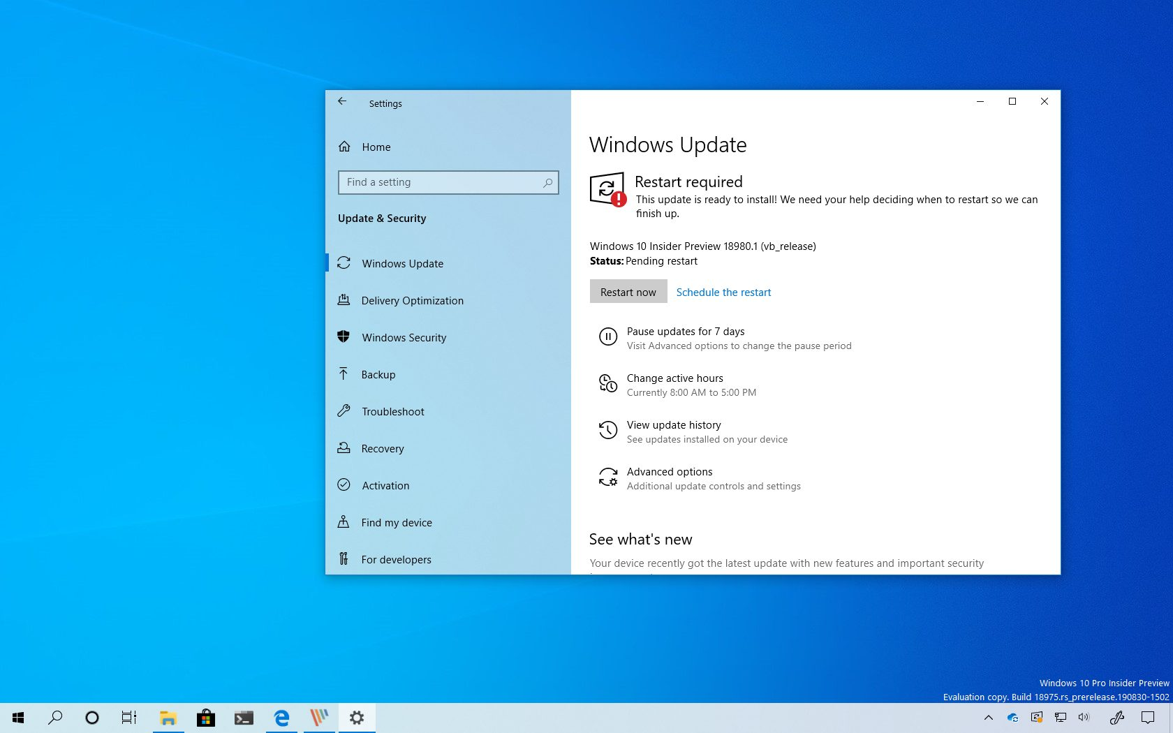Windows 10 build 18980 (Vibranium) download