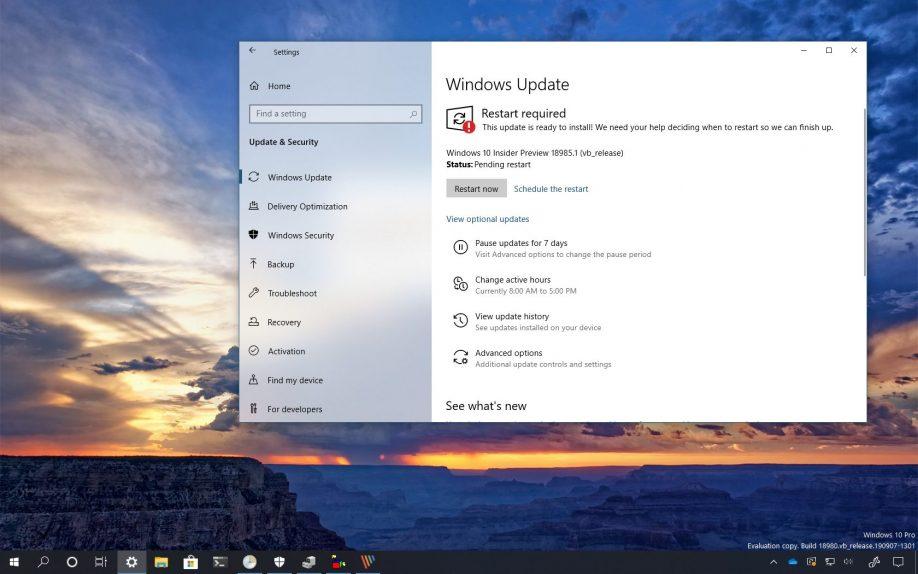 Windows 10 build 18985 download