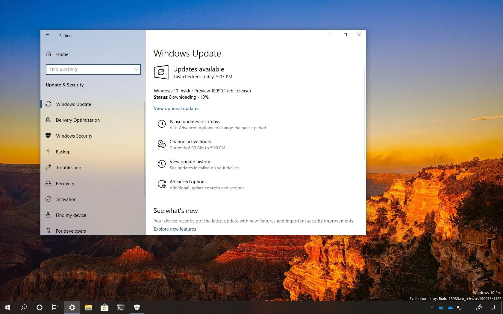Windows 10 build 18990 download