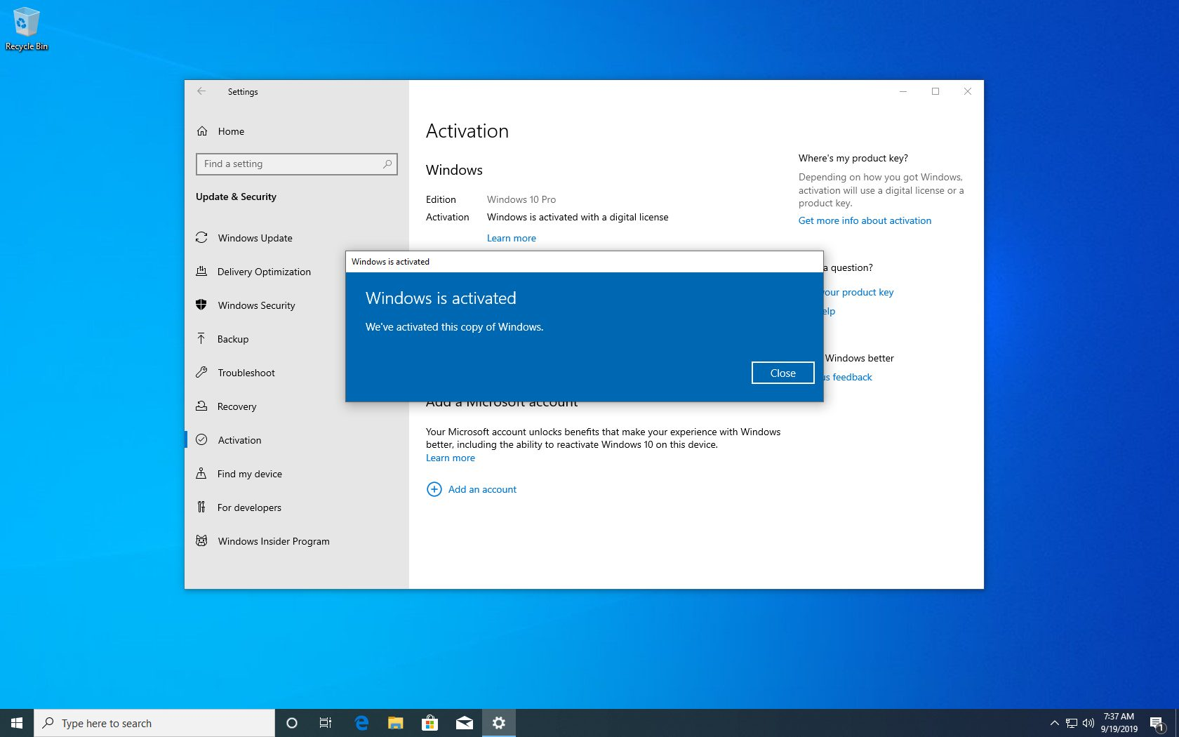 Windows 10 activated using a Windows 7 product key in 2019
