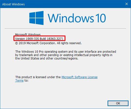 Check Windows 10 version 1909 using winver command