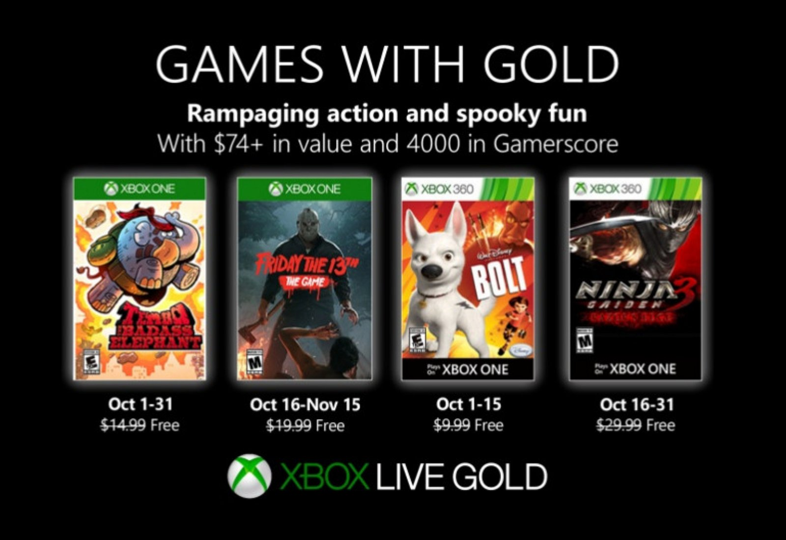 Xbox Games with Gold for October 2019
