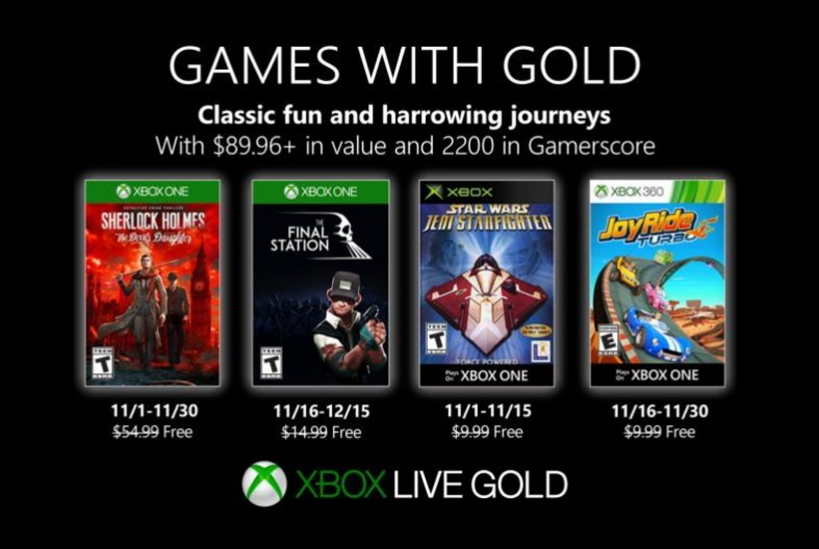Xbox Games with Gold for November 2019 (source: Microsoft)