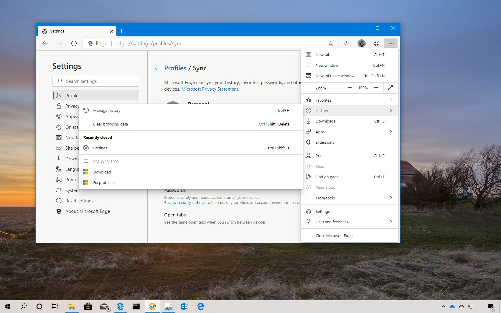 Sync open tabs on Microsoft Edge Chromium