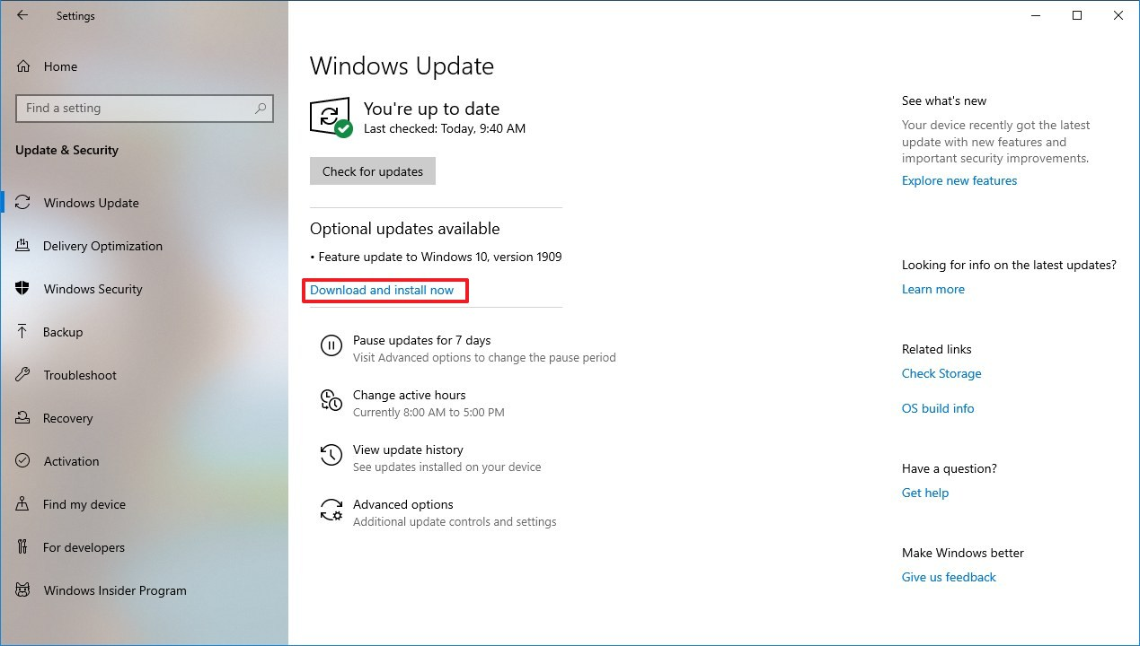 Download and install version 1909 using Windows Update