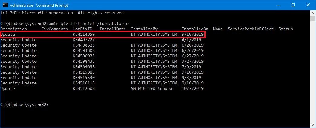 View Windows 10 update history using Command Prompt