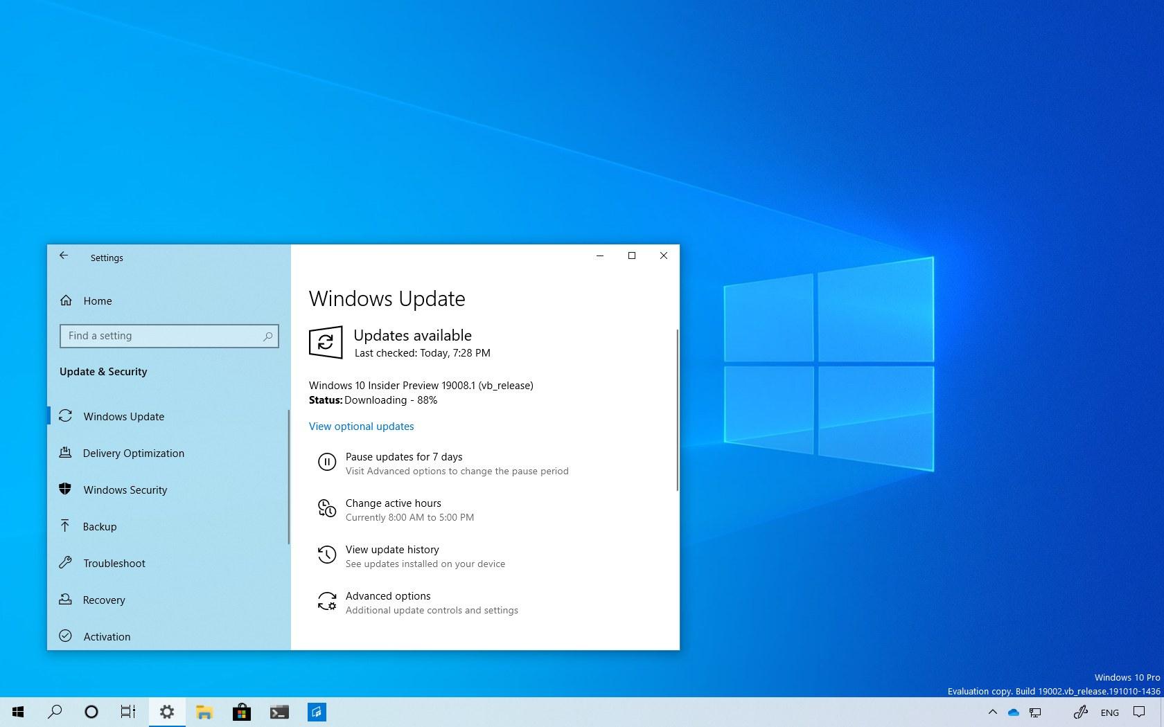 Windows 10 build 19008 download