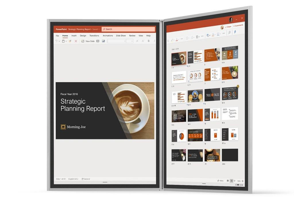 Windows 10X desktop interface (image source Microsoft)