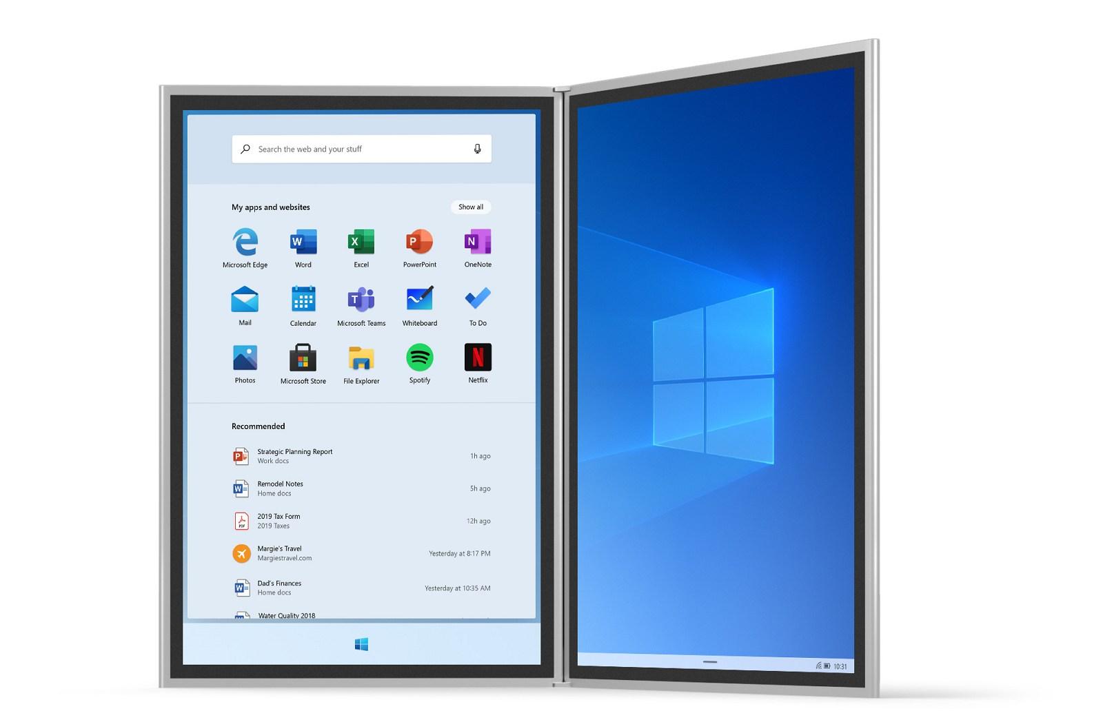 Windows 10X interface (image source Microsoft)