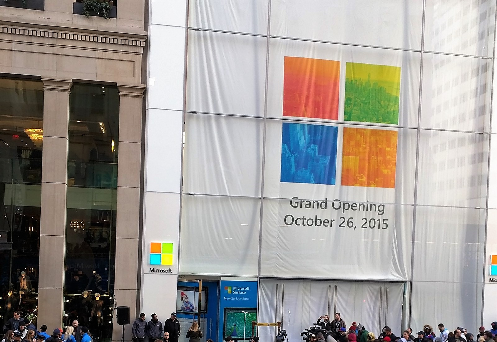 Microsoft logo at Store grand opening in 2016
